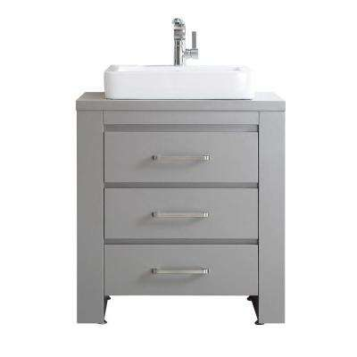 Pascara 30 In W X 21 In D Vanity In Grey With White Basin