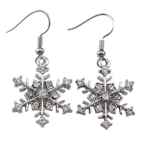 Winter Snowflake Dangle Drop Earrings Wedding Bridesmaid Christmas Gift for Women