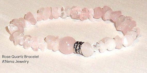 "Bracelet:  Genuine Pink Rose Quartz   "" Heart Healer"" $18"
