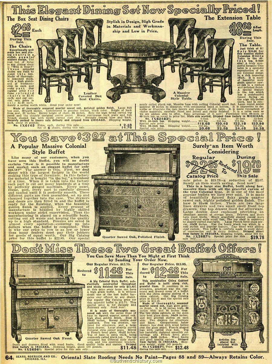 HOUSEHOLD FURNITURE: 1914 Sears Household Catalog Dining Room Furntiure
