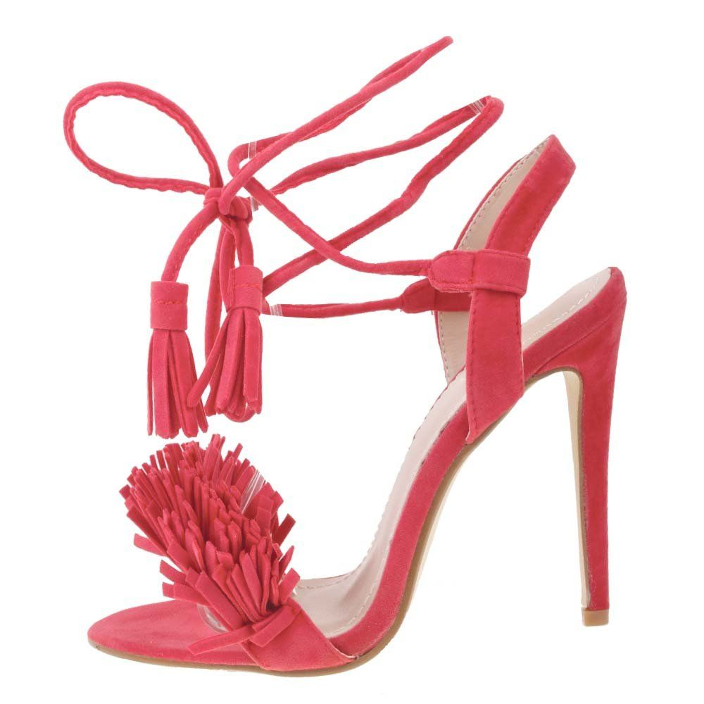 BEBO High Stiletto Heel Fringe Strappy Lace Up Tie Sandals Shoes ...