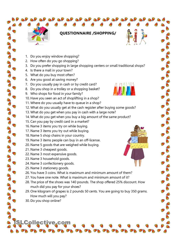 Workbooks shopping worksheets esl : Questionnaire/Shopping   Börnin og skóli   Pinterest   English ...