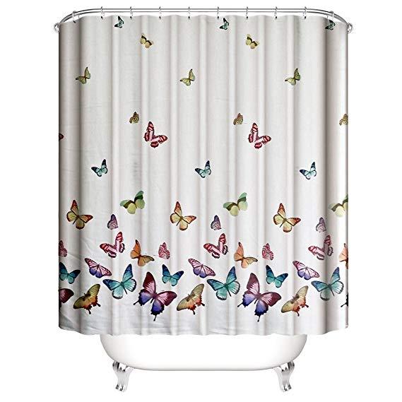 Amazon Com Muuyi Spring Summer Butterflies Shower Curtain Set