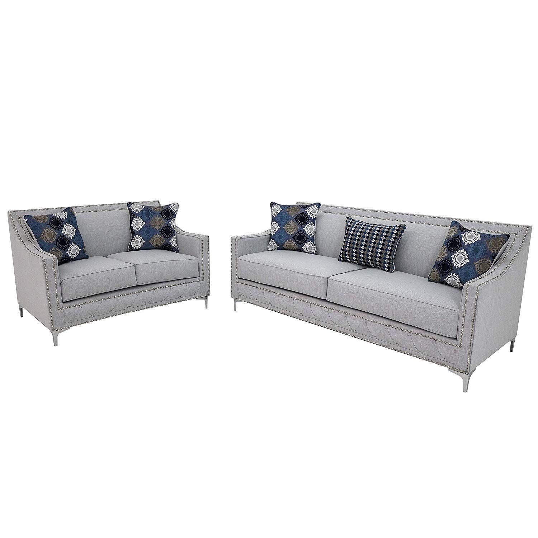 Overstock Michelle Modern Grey Upholstered Nailhead Living Room Sofa Set Nailhead Living Room Sofa Set Living Room Sofa