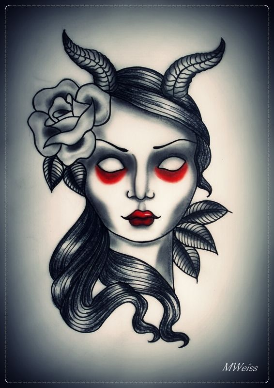 f63292ea78a72 devil girl tattoo flash by oldSkullLovebyMW.deviantart.com ...