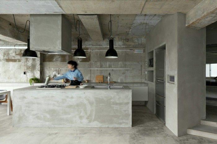 wandgestaltung ideen küche eirichten beton Wandgestaltung - ideen wandgestaltung küche