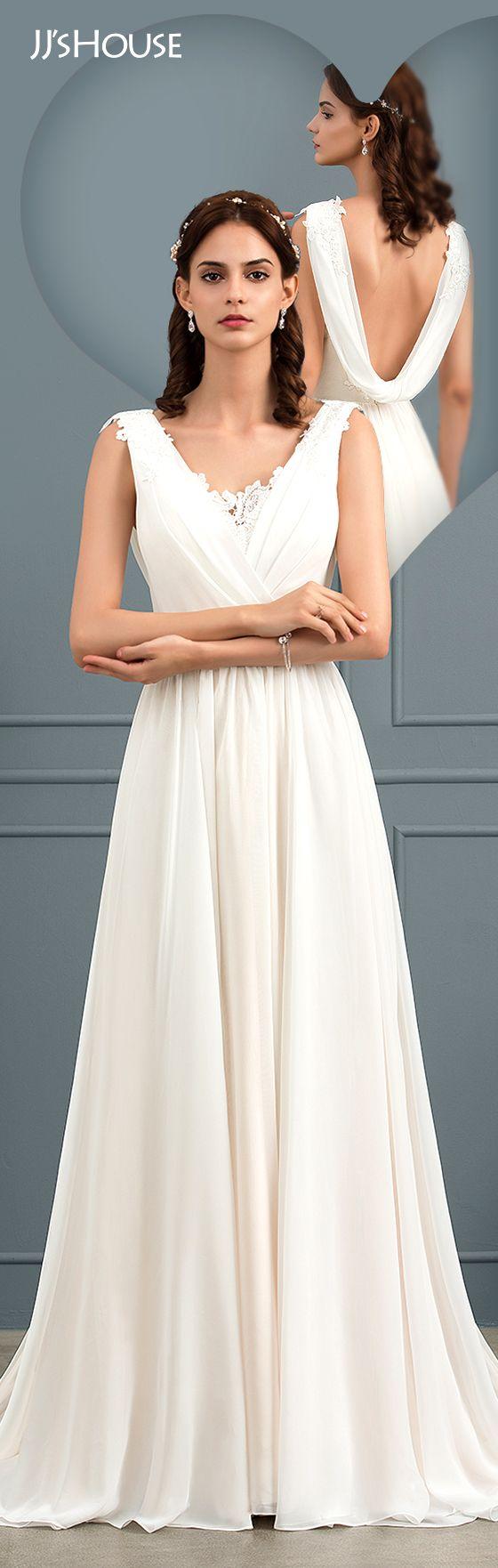 A line chiffon wedding dress  ALinePrincess Vneck Sweep Train Chiffon Wedding Dress