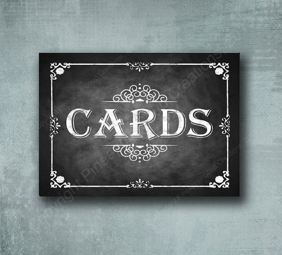 Chalkboard Style CARDS printed wedding or party sign - Professionally Printed - Rustic Rose Design - your choice of size