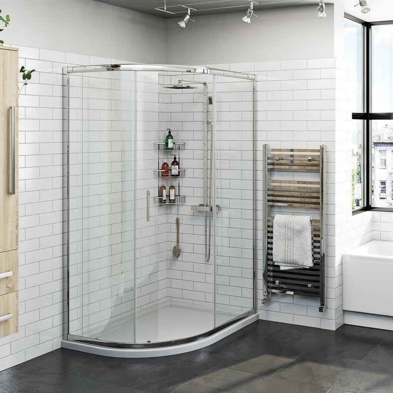 Orchard 6mm Left Handed Offset Quadrant Shower Enclosure And Stone Shower Tray Stone Shower Quadrant Shower Enclosures Quadrant Shower