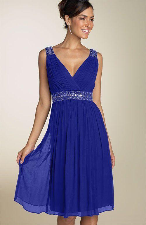 Royal Blue Tea Length Formal Dresses
