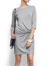 Modern Gray Cotton Blend Half Sleeve Women's Dress