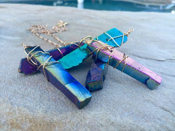 Rainbow Pendant Quartz Necklace Long Gold by DeborahLynnJewelry