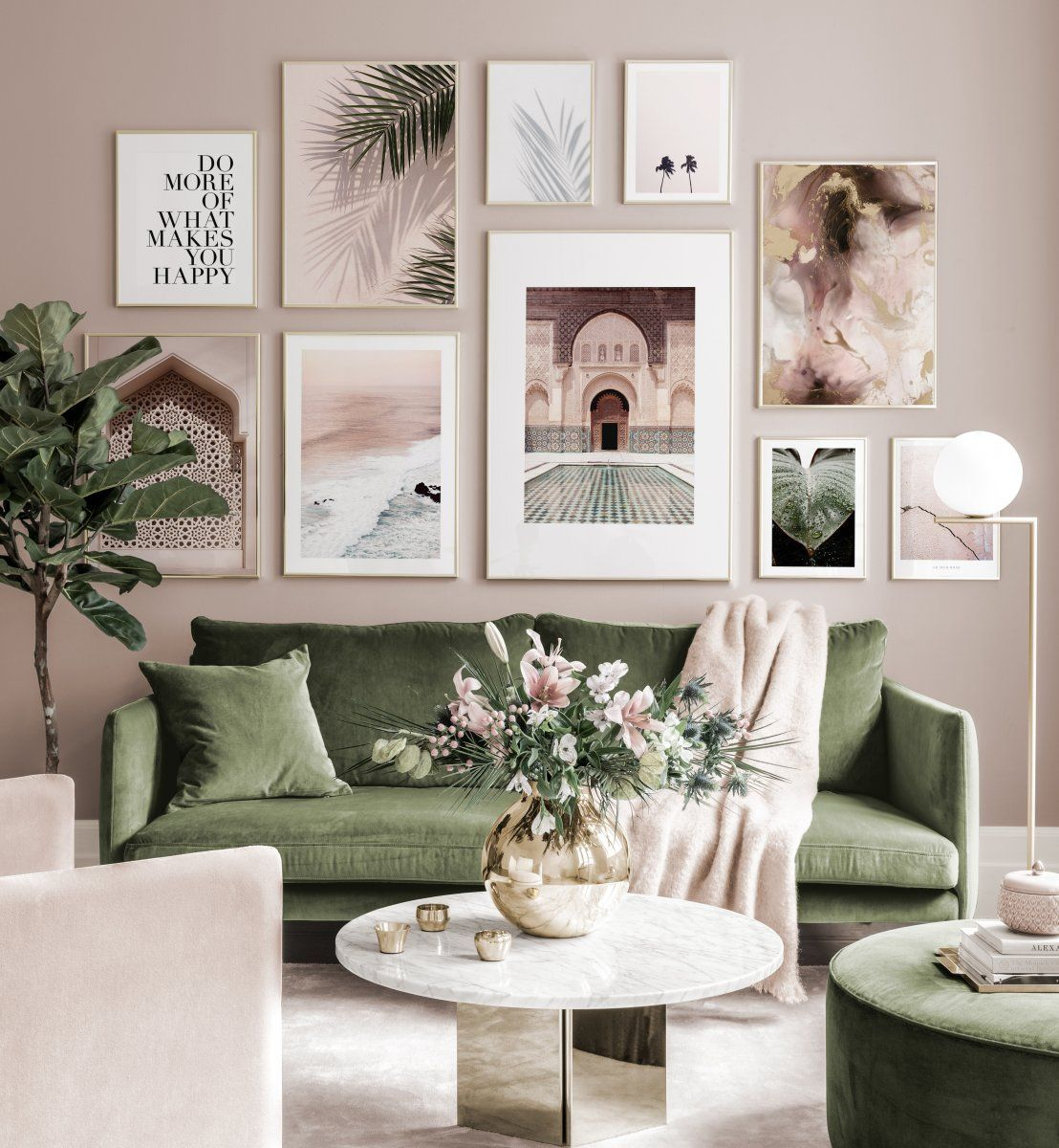 Beautiful Mediterranean Gallery Wall Pink Green Posters Golden Frames Gallery Wall Ins In 2020 Gallery Wall Inspiration Gallery Wall Living Room Living Room Pictures #photo #frames #living #room