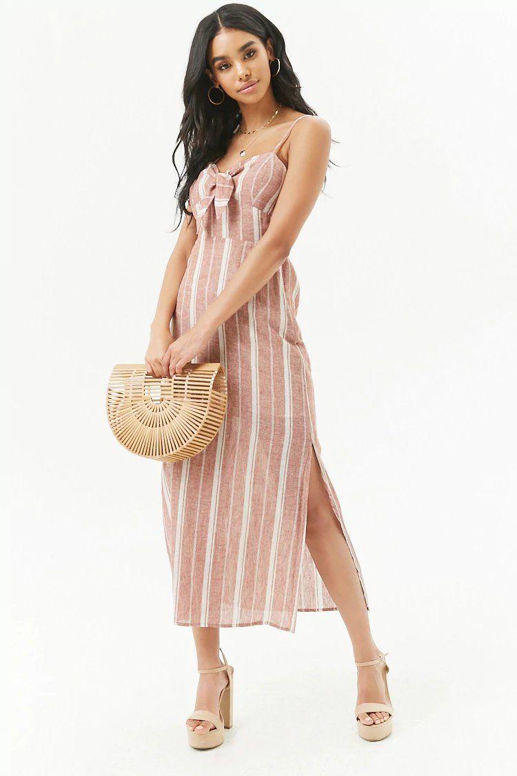 06fb1a14fe7b Product Name Striped Linen-Blend Tie-Front Cutout Maxi Dress ...