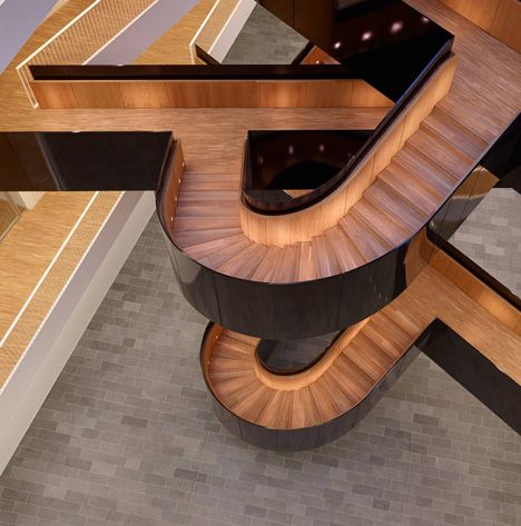 One of the many staircases in the UN City by 3XN; Copenhagen, Denmark