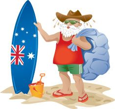 Australian Santa Clause On A Beach With Surfboard Vector Art