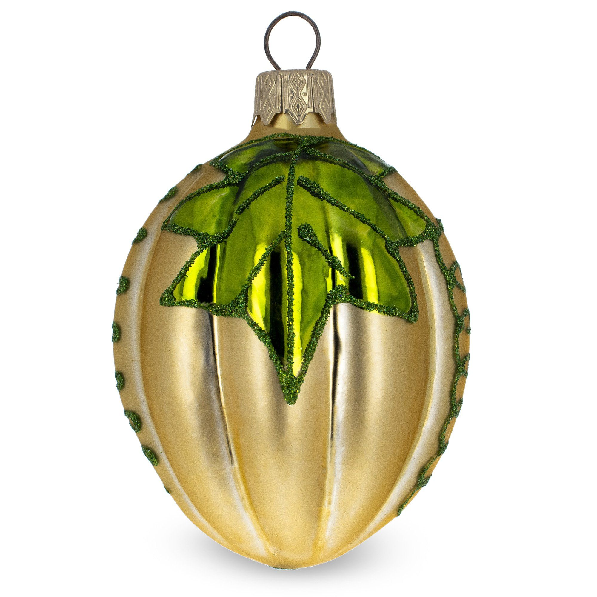 Pumpkin Mouth Blown Glass Christmas Ornament Figurine ...