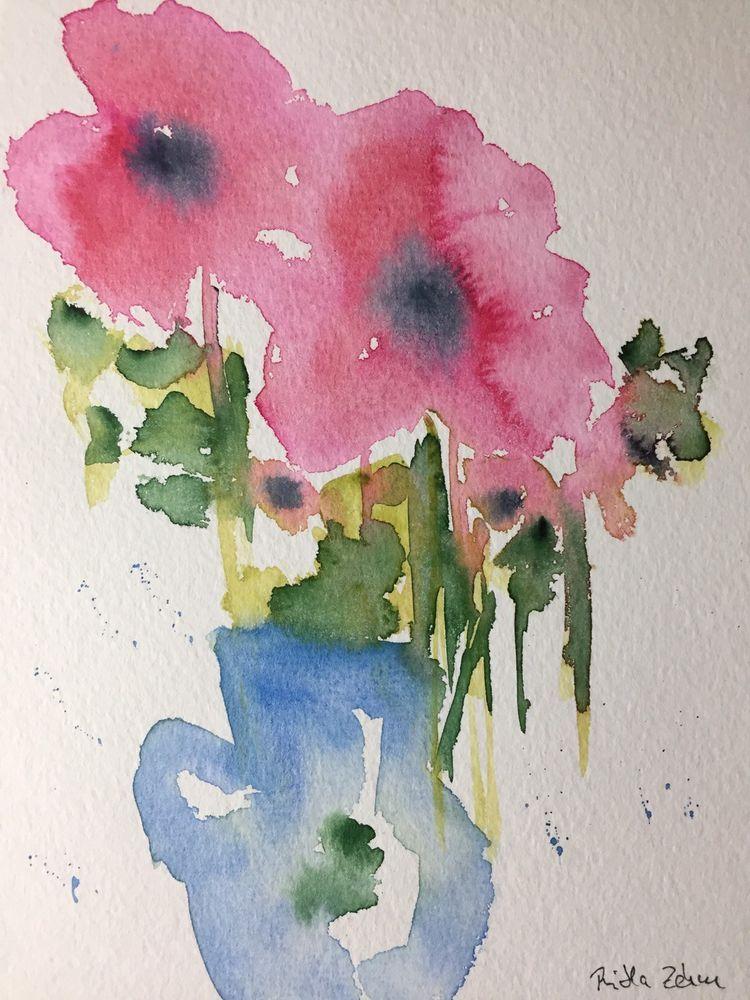 Original Aquarell Aquarellmalerei Kunst Mohnblumen Blumen