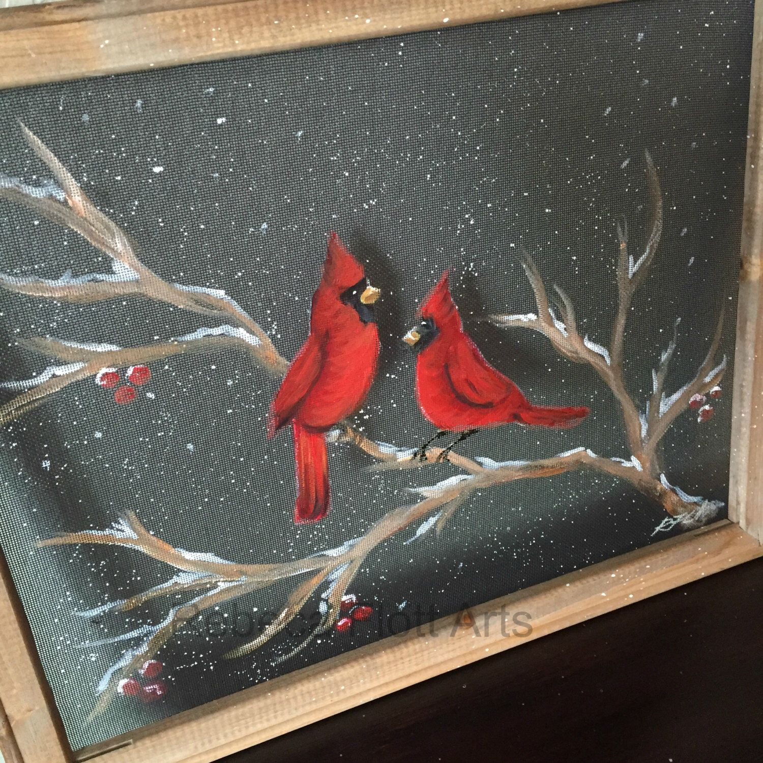 Winter Cardinals Hand Painted Recycled Window Screen Wood Frame Window Painting Painted Window Screens Hand Painted