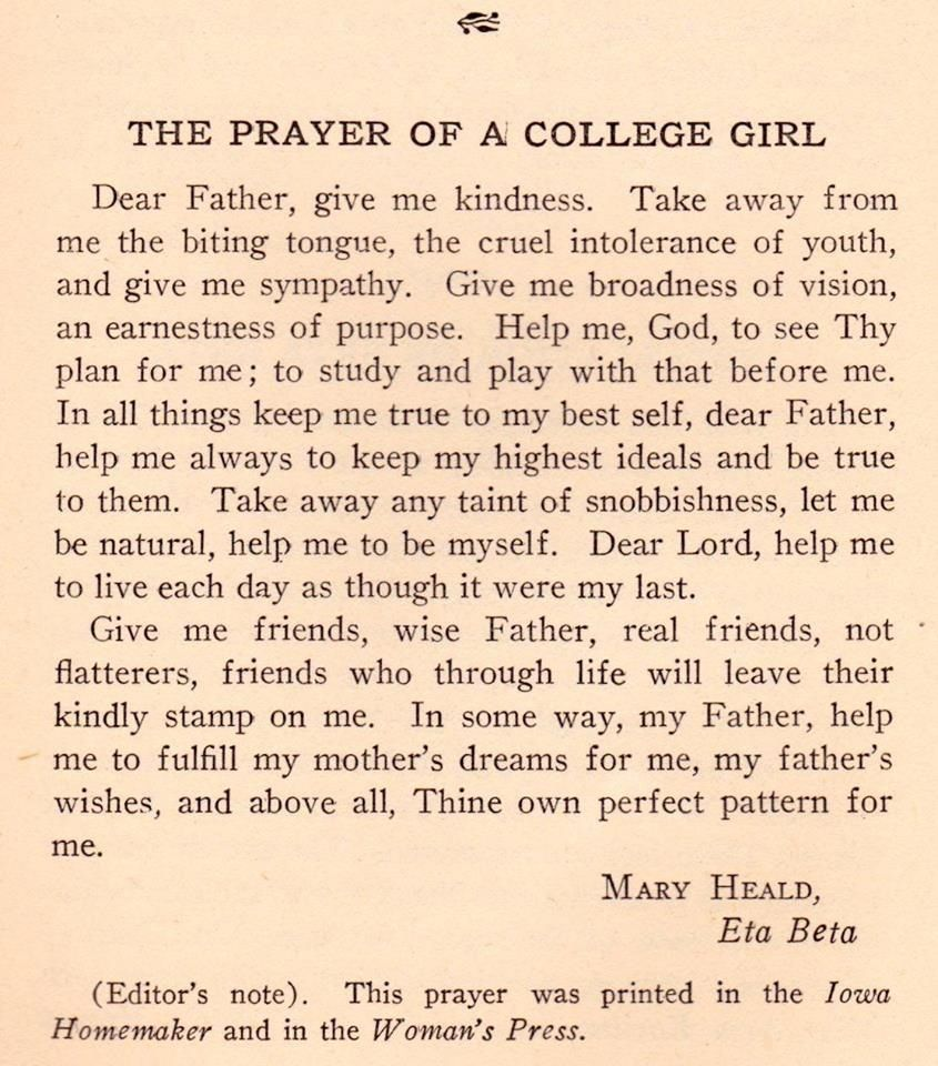 This is beautiful: The Prayer of a College Girl