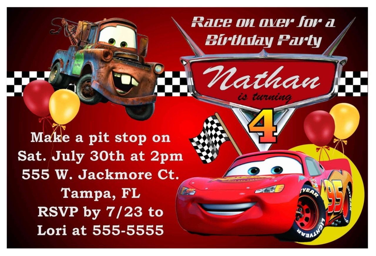 Disney Cars Birthday Invitations Party