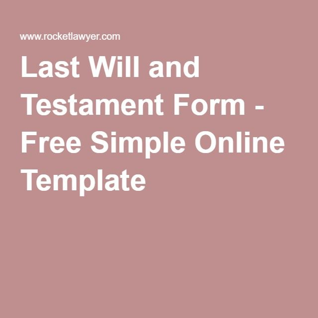 Last Will and Testament Form - Free Simple Online Template Type A - last will and testament form