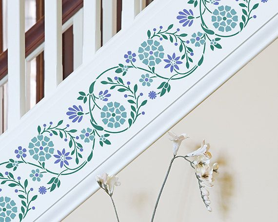 Flower Embroidery Wall Border Stencil Indian Wall Decor Painted