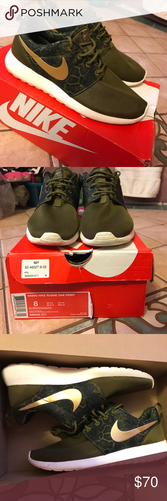 new concept a4381 a9256 Nike Roshe Run Womens OliveArmy Green Leopard print gold swoosh Nike Shoes  Sneakers