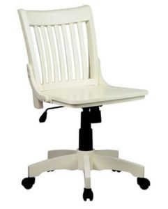 White Computer Desk Chair | Antique White Armless Wood Swivel Desk Computer  Chair | EBay