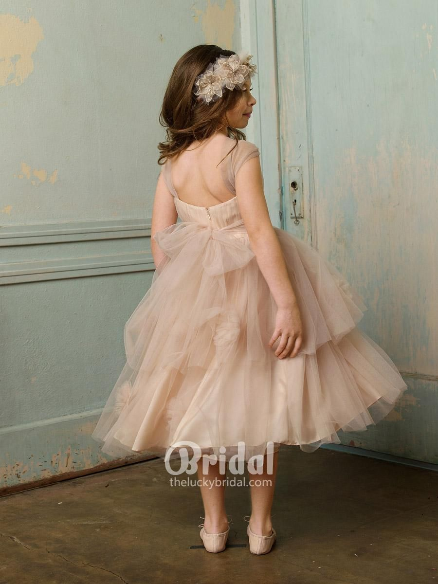 oatmeal tulle shirred tiered baby flower girl dress for wedding