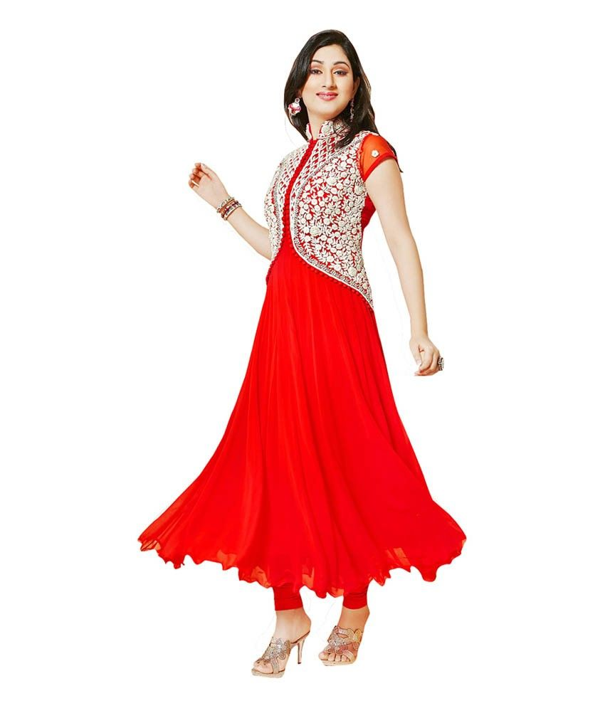 2f1fa02747 Disha Parmar Georgette Machine Work Red Semi Stitched Long Anarkali Suit -  106 at Rs 899