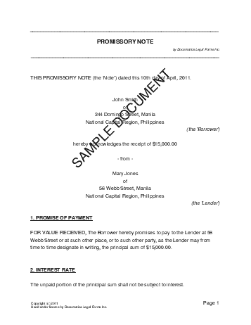 Printable Sample Promissory Note Sample Form  Real Estate Forms