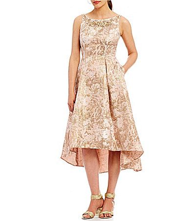 Adrianna Papell Metallic Jacquard Fit And Flare Hilow
