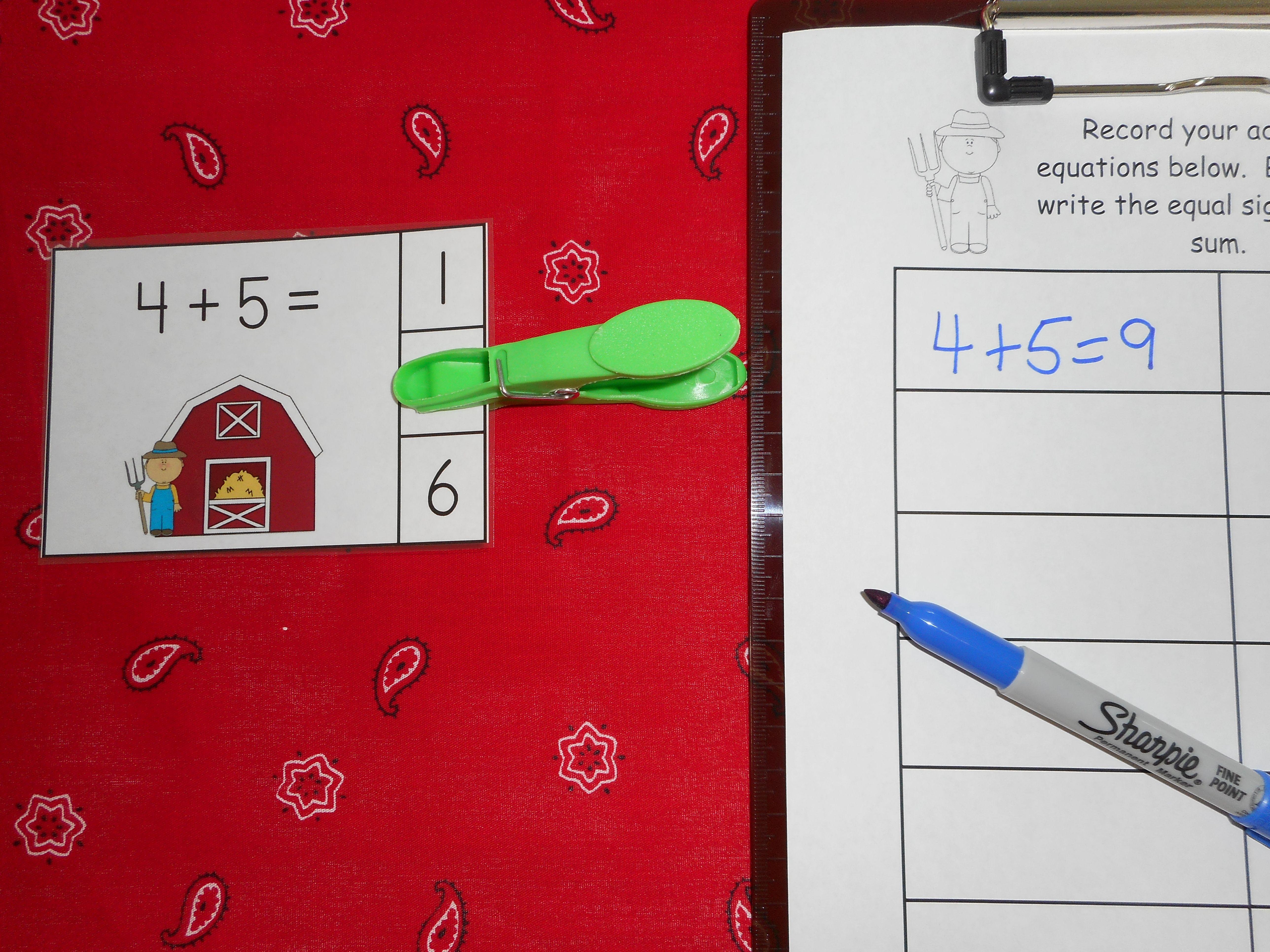 Farm Kids Addition Math Center Sums To 10 Freebie