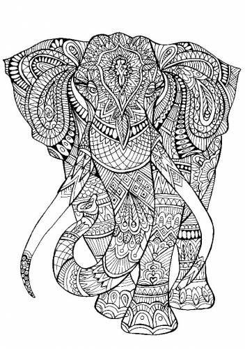 Раскраска антистресс слон | Раскраски с животными