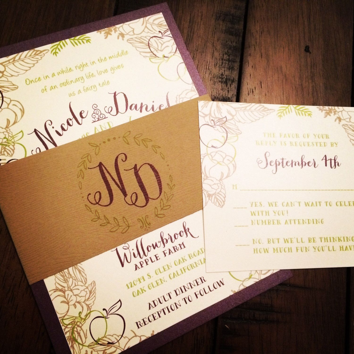 tie the knot wedding invitations etsy%0A Qty     Rustic Wedding Invitation with Woodgrain Texture Belly Band by  SocialSavvyInvites on Etsy https