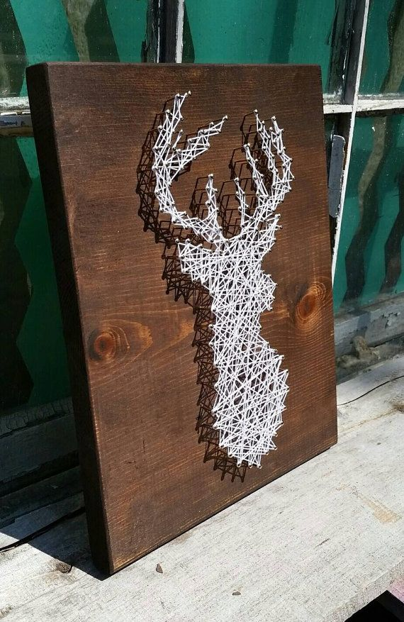 string art deer deer silhouette buck head stag by. Black Bedroom Furniture Sets. Home Design Ideas
