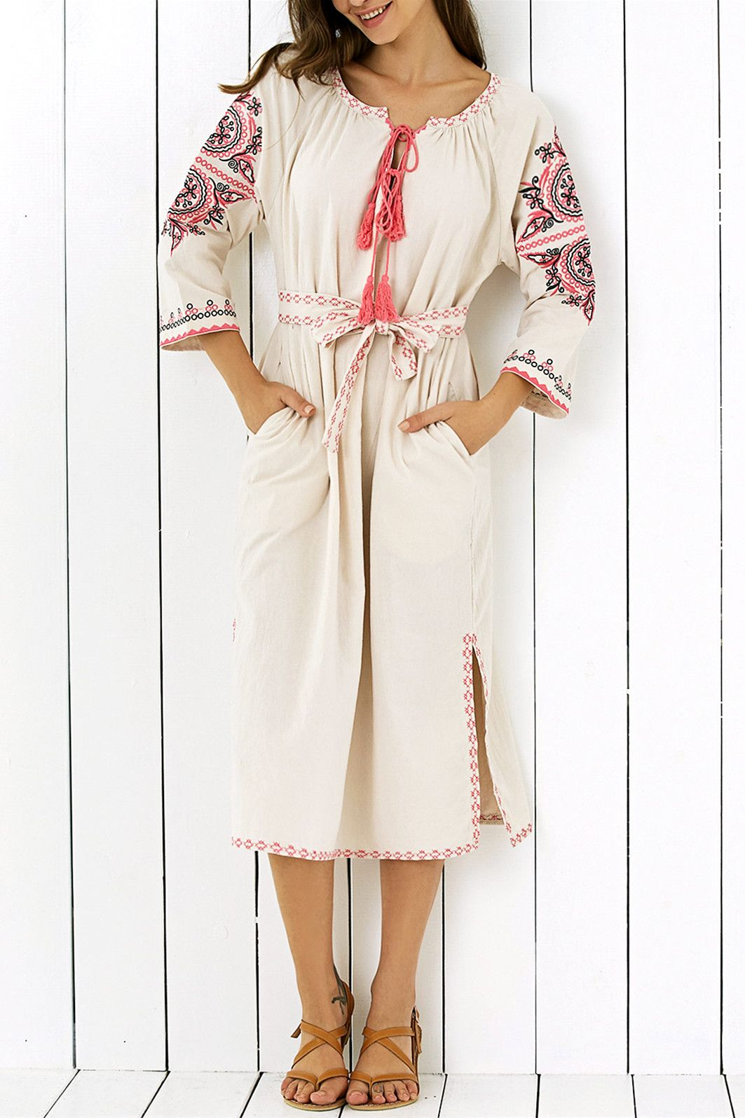 casual v neck side slit embroidered maxi dress maxi dresses