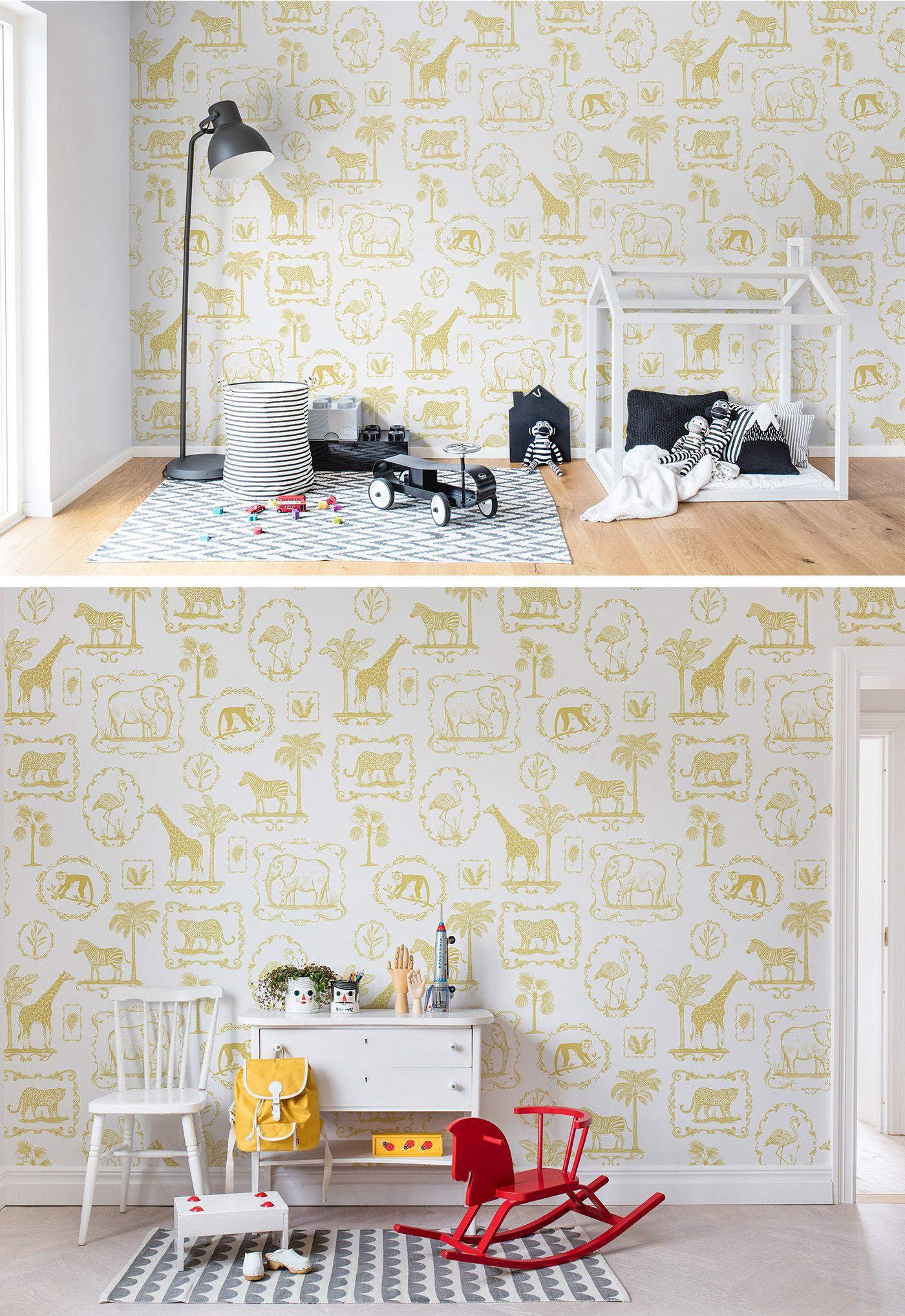 Home interior tapeten design animal party yellow  tapeten fürus kinderzimmer  pinterest