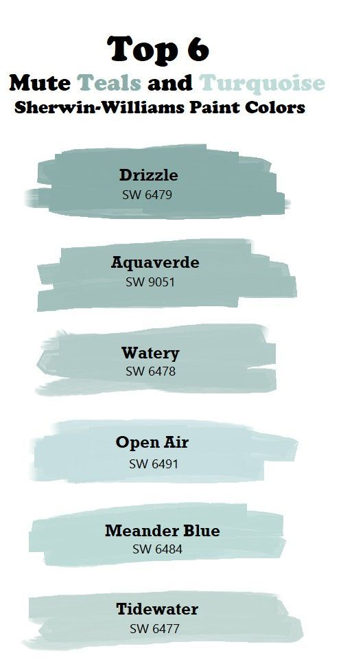 Photo of Top 6 Mute Teal and Turquoise Paint Colors. Sherwin-Williams. Drizzle SW6479. Aquaverde. Wate…