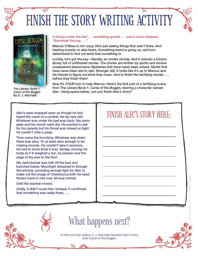 finish the story writing activity based on the curse of the boggin  halloween writing fun wizards magic write your own story
