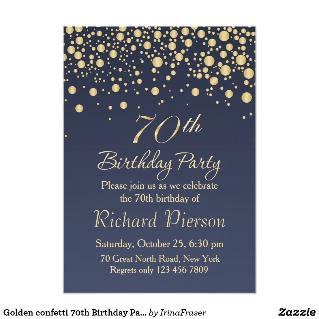 golden confetti 70th birthday party invitation invitations