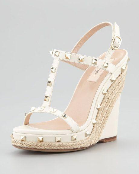 Valentino White Jute Trim Rockstud Wedge Sandal Bridal Sandals Wedge Valentino Wedges Wedge Sandals