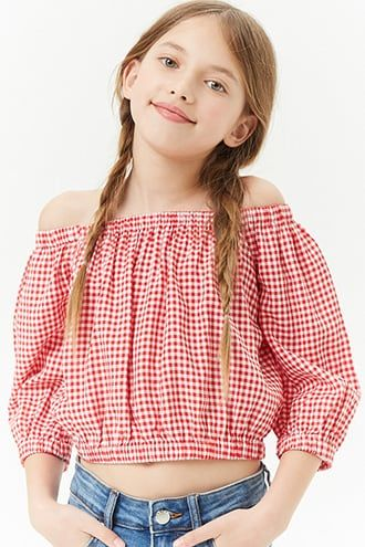 f735478588ada5 Girls Gingham Off-the-Shoulder Top (Kids)   cute outfits in 2019 ...