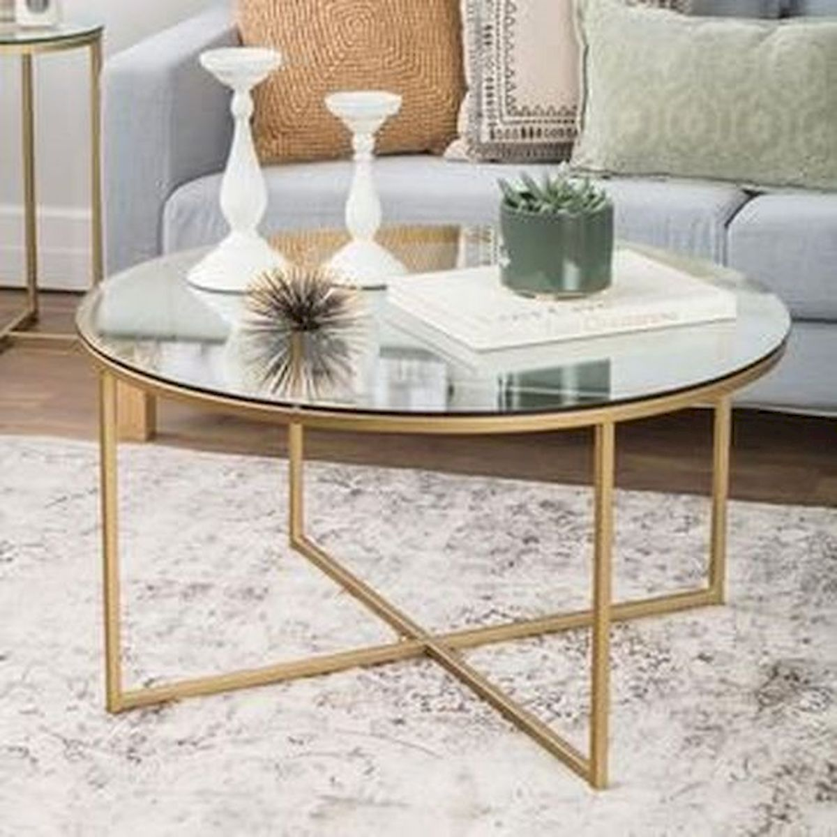 40 Awesome Modern Glass Coffee Table Design Ideas For Your Living Room Gold Coffee Table Coffee Table Round Coffee Table [ 1200 x 1200 Pixel ]