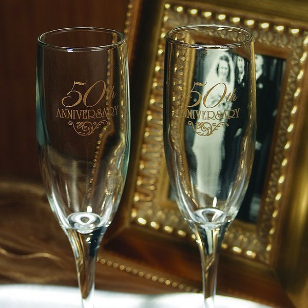 engraved 50th anniversary toasting flutes set in 2020