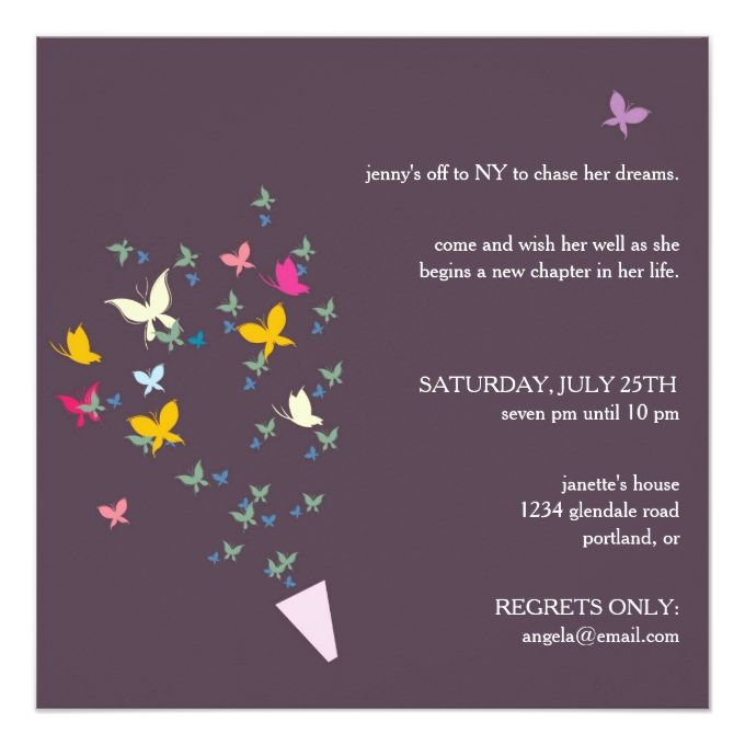 Bouquet of Butterflies - farewell party invitation Farewell - invitation templates for farewell party
