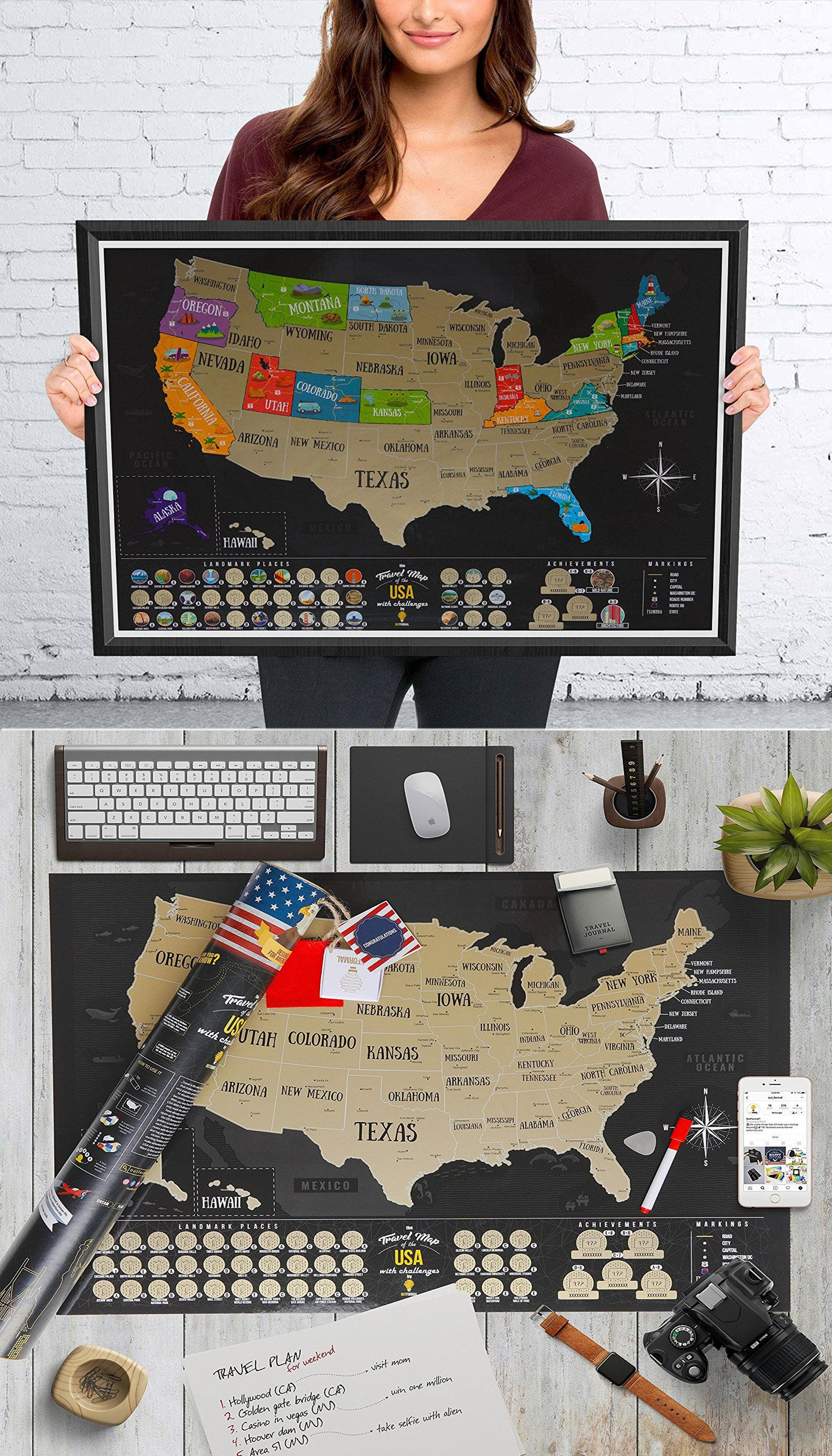 Bucket List USA map scratch off, Large US map, map of United ...