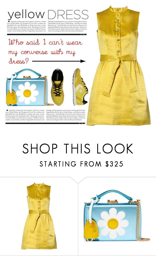 """""""Yellow Dress & Converse Sneakers"""" by conch-lady ❤ liked on Polyvore featuring LANZ, Mark Cross, Converse, yellowdress and Conversesneakers"""