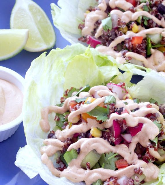 red quinoa south western lettuce wraps with chipotle sour